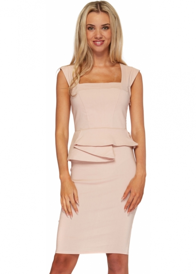 Goddess London Nude Structured Peplum Sleeveless Pencil Dress