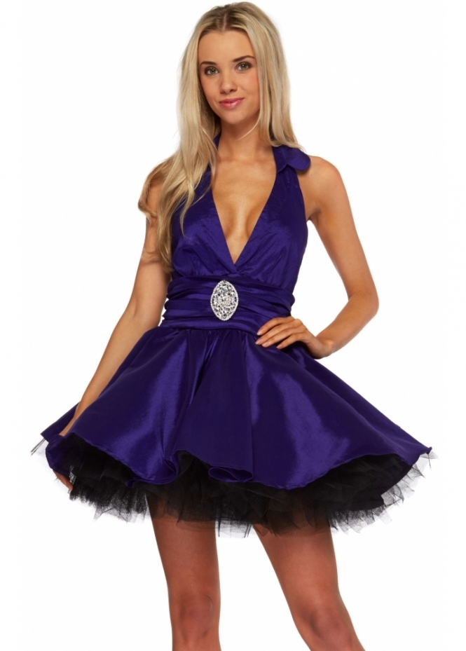 Goddess London Purple Satin Halterneck Prom Dress With Full Net Lined Skirt