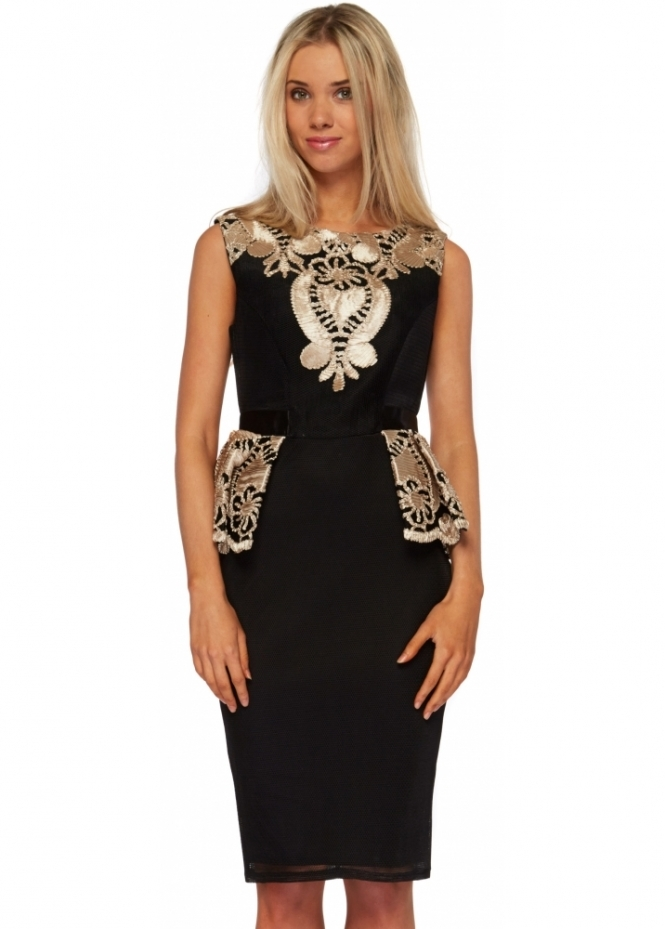 Goddess London Black Mesh Gold Embroidered Peplum Pencil Dress