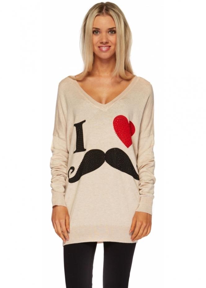 Designer Desirables Beige Fine Knit V Neck I Love Crystal Studded Sweater