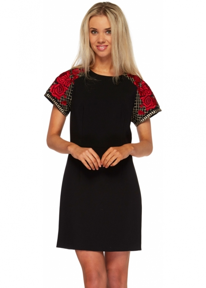 Silvian Heach Embroidered Roses Black Shift Mini Dress