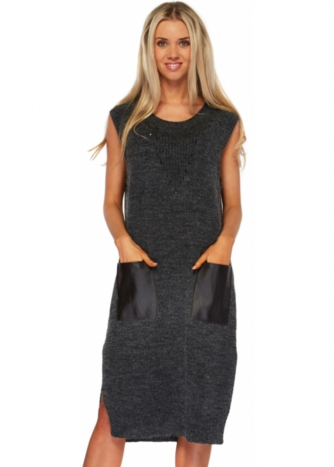 Designer Desirables Charcoal Knitted Jumper Dress With PU Pockets