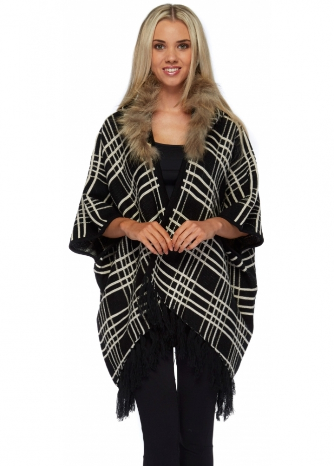 Designer Desirables Black Tartan Cosy Poncho With Faux Fur Trim Hood