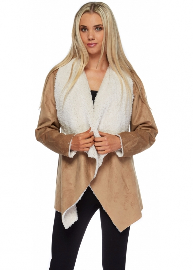 J&L Paris Camel Faux Shearling Waterfall Jacket