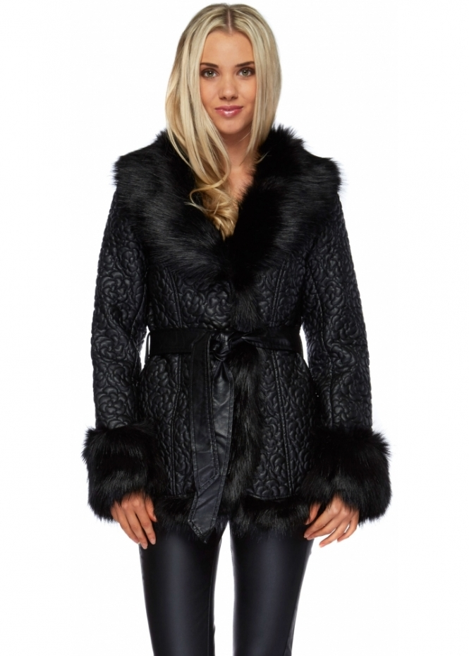 Black Leather Jacket - Black Leather Faux Fur Jacket