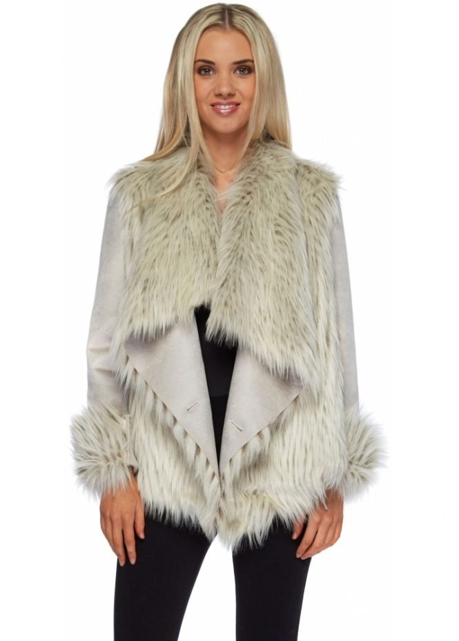 Urbancode Polar Faux Fur Suedette Waterfall Front Jacket