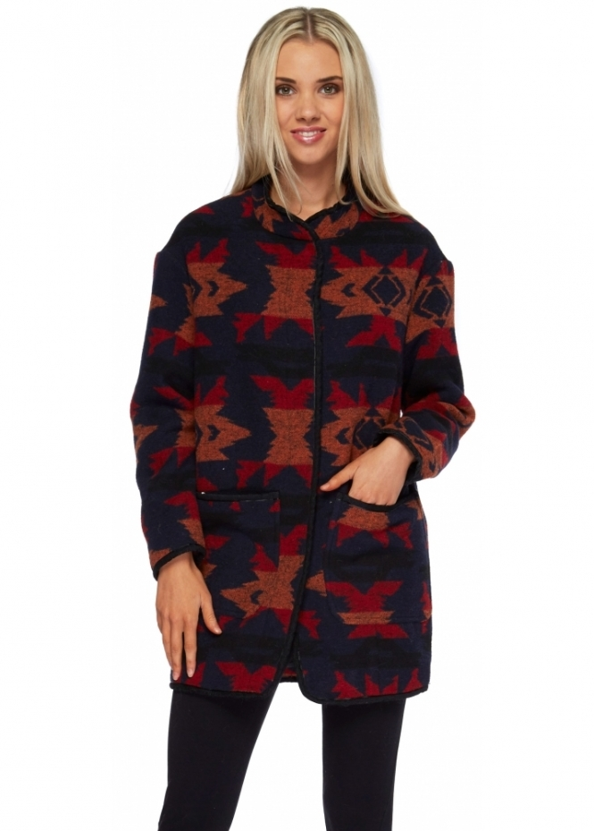 Designer Desirables Multicoloured Print Short Textured Blanket Coat