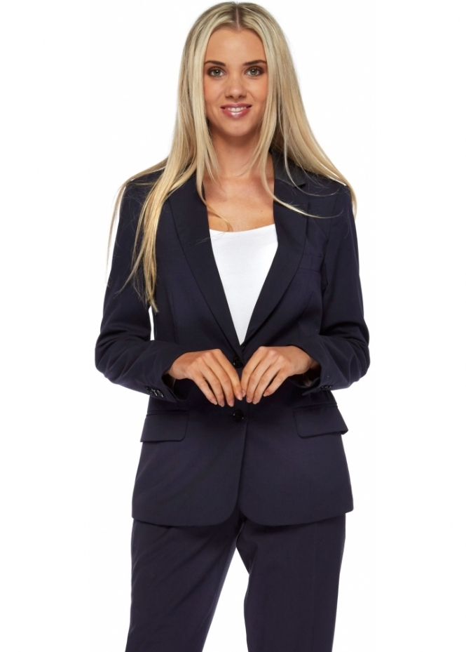 Silvian Heach Navy Blue Tailored Tuxedo Blazer With Satin Contrast Collar
