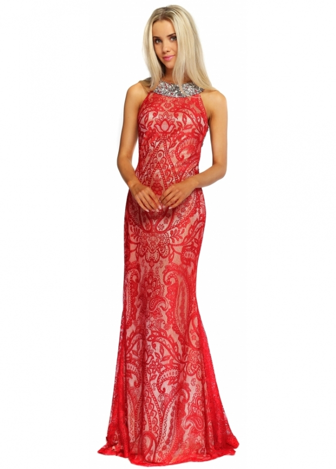 Pia Michi Red & Nude Lace Backless Pearl & Sequinned Adorned Evening Dress