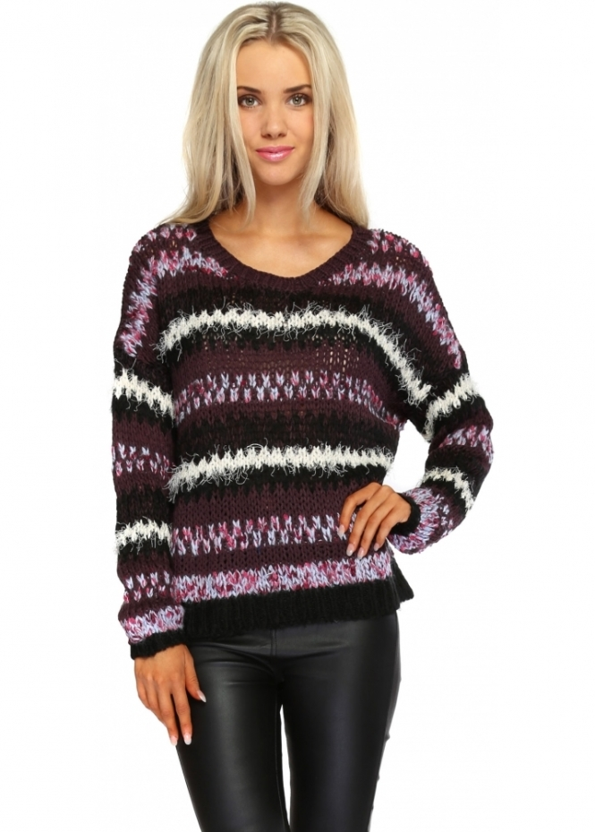 Only Long Sleeve Plum Knitted Stripe Jumper