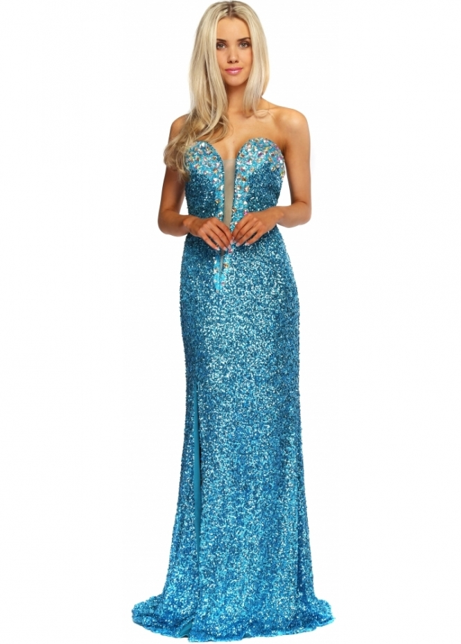 Corset And Dresses Turquoise Sequinned Crystal Bustier Mitzy Strapless Evening Dress