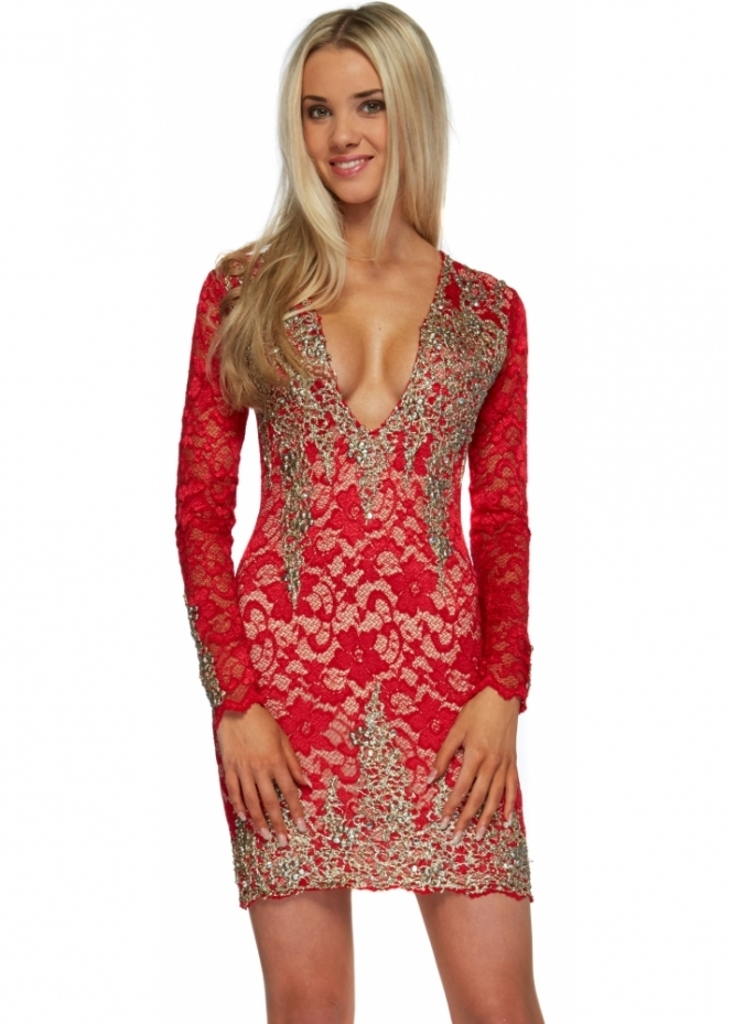 Holt Addison Dress In Red Lace With Gold Paint Accents