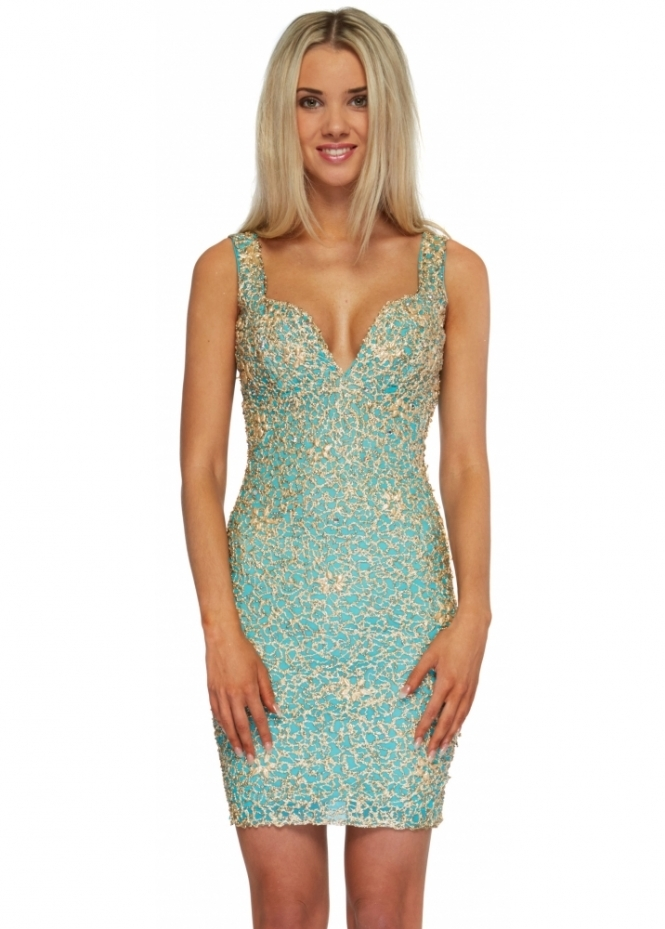 Holt Avianna Dress In Turquoise Gold Painted Bodycon Dress