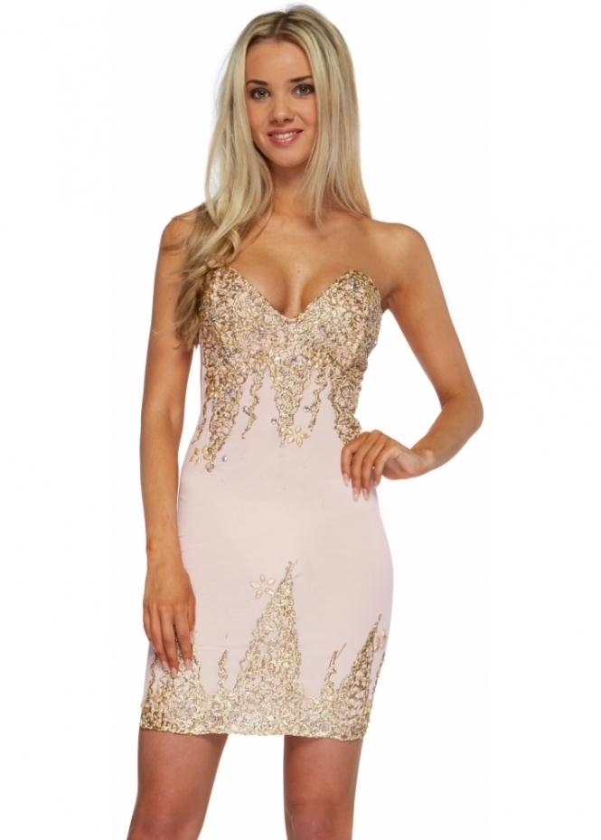 Holt Nika Baby Pink Gold Hand Painted Bustier Bodycon Dress