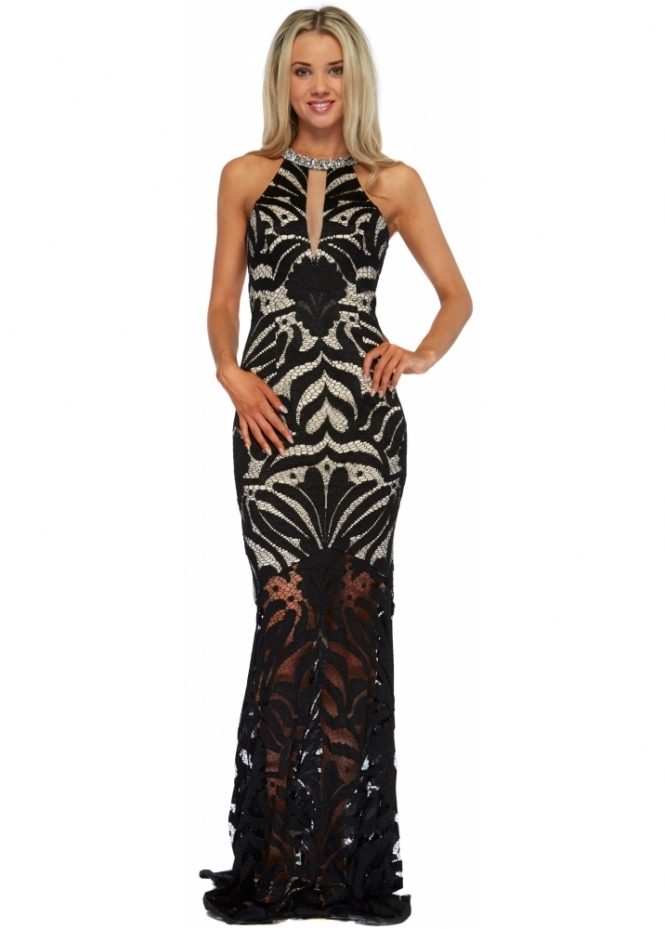Pia Michi Black & Nude Sheer Lace Beaded Halter Neck Evening Dress