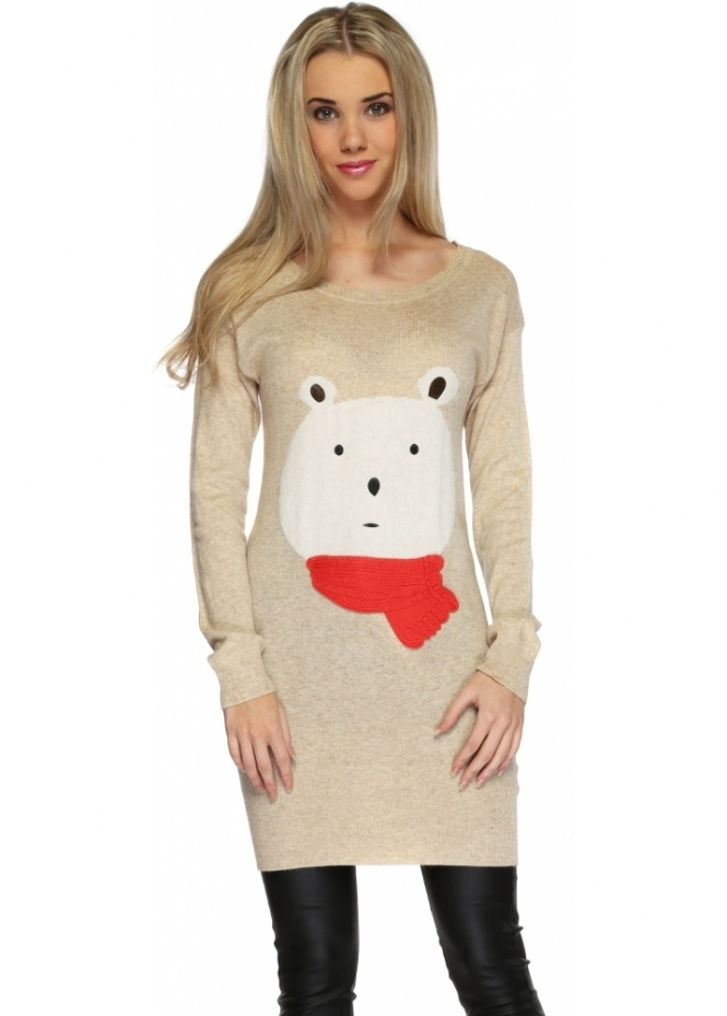 Designer Desirables Winter Fluffy Teddy Bear Beige Long Jumper
