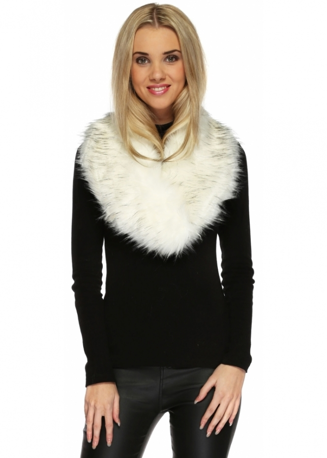 Urban Mist White Black Tipped Thick Fluffy Oversized Faux Fur Collar