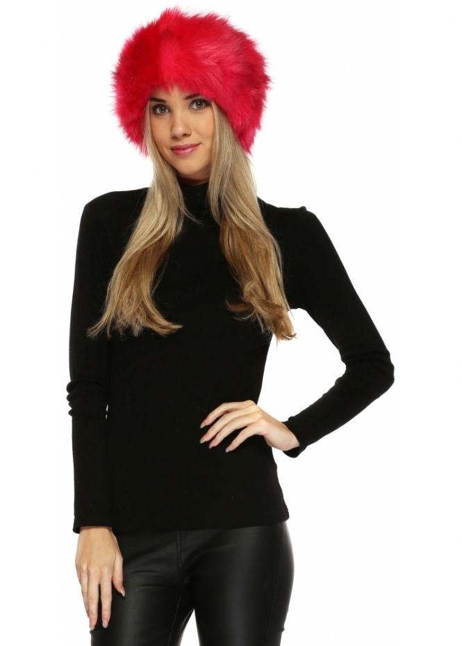 Urban Mist Thick Fluffy Faux Fur Headband In Hot Pink