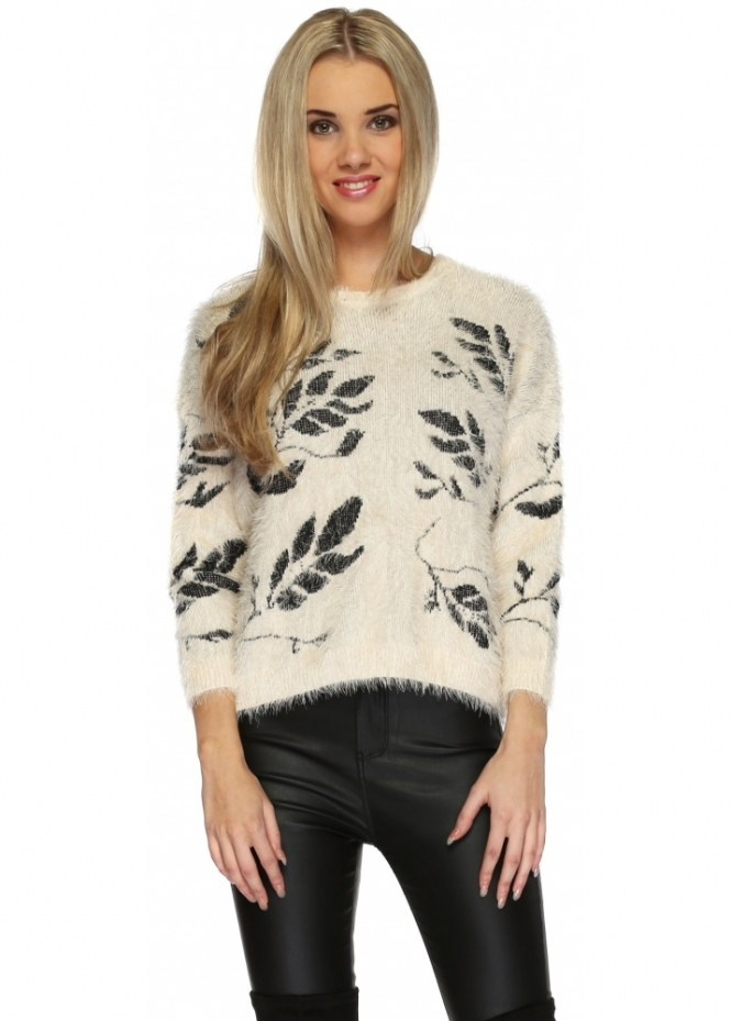 Paisie Autumn Leaves Ivory Mohair Cropped Jumper