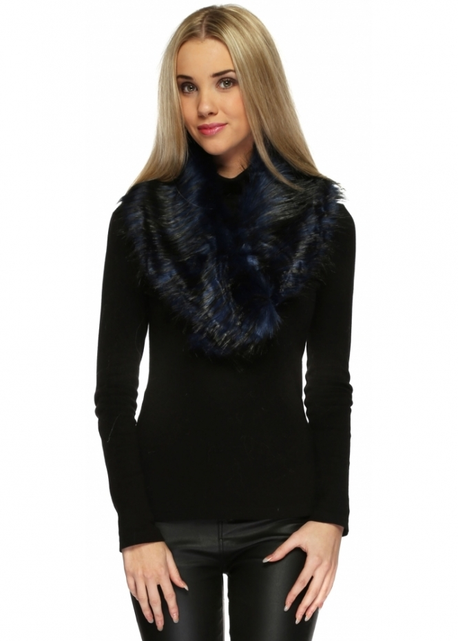 Urban Mist Navy Blue Black Tipped Thick Fluffy Oversized Faux Fur Collar