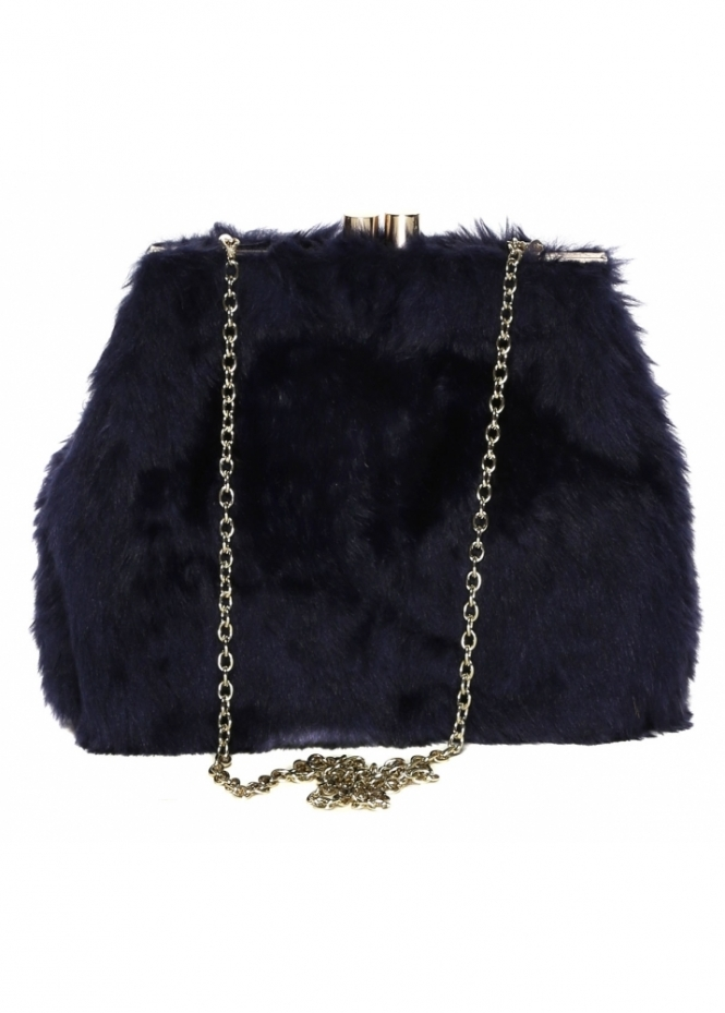 Designer Desirables Soft Fluffy Navy Blue Faux Fur Tote Bag