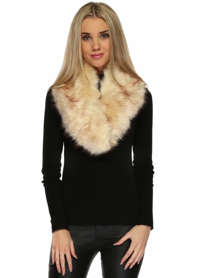 Urban Mist Beige Thick Soft Fluffy Faux Oversized Fur Collar
