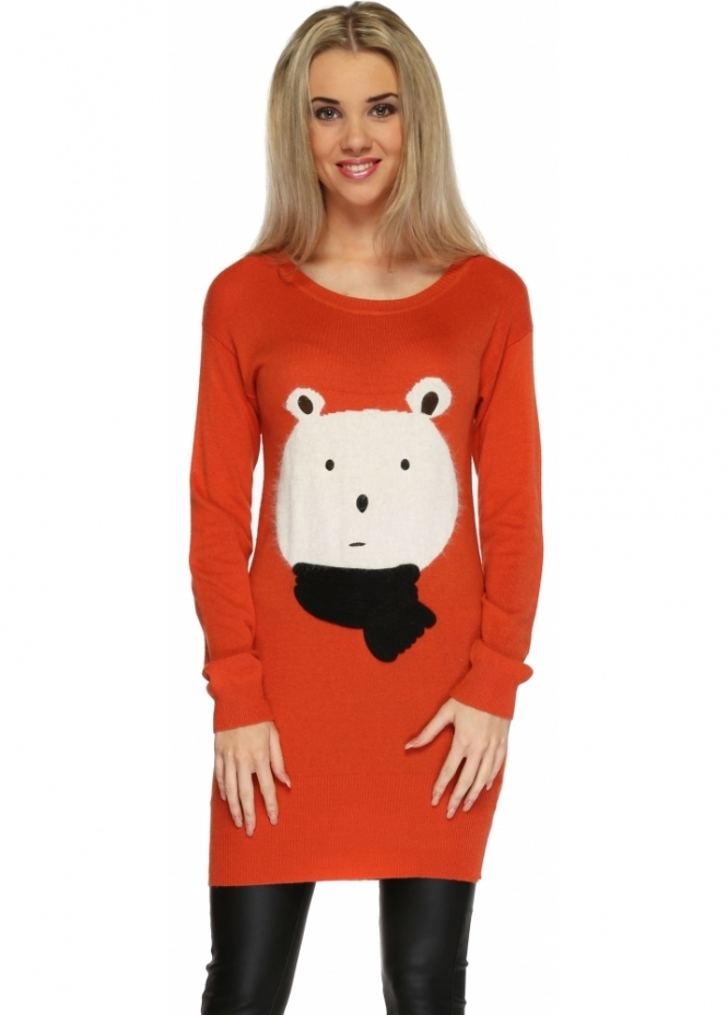 Designer Desirables Winter Teddy Bear Orange Long Jumper
