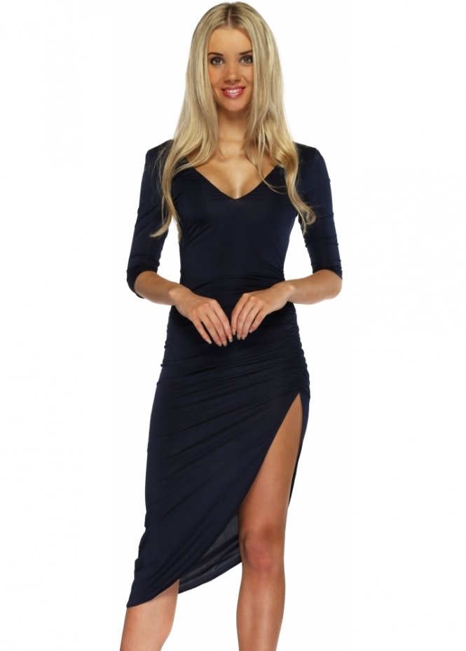 Abyss Lipstick Dress In Navy Blue With Sexy Thigh High Split