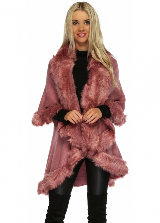 Jayely Pink Faux Fur Cape Luxe Pink Fur Poncho