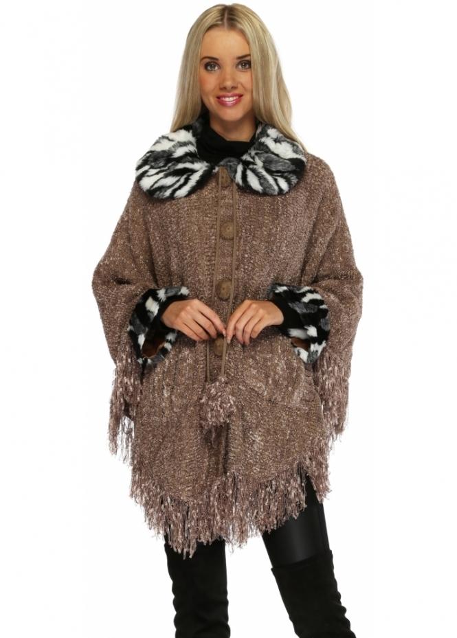 Urban Mist Mocha Button Up Poncho With Faux Fur Collar & Cuffs