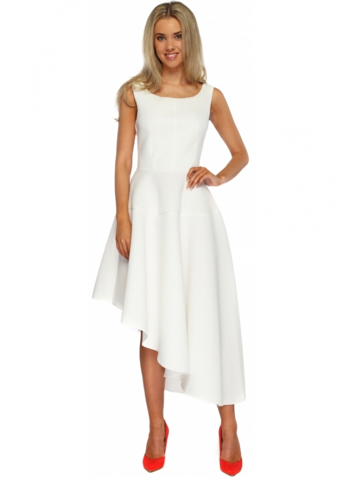 Goddess London Ivory Textured Asymmetric Midi Length Skater Dress