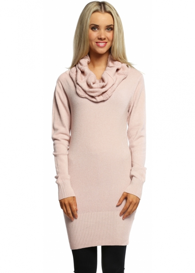 Italian Boutique Baby Pink Cable Knit Polo Neck Jumper Dress