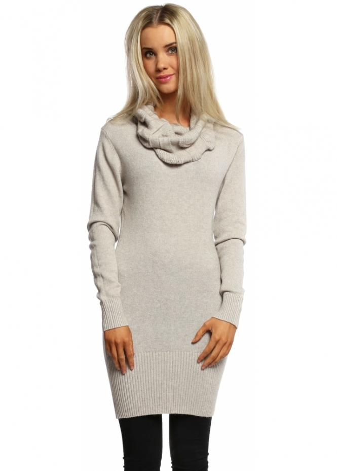 Italian Boutique Beige Cable Knit Polo Neck Jumper Dress