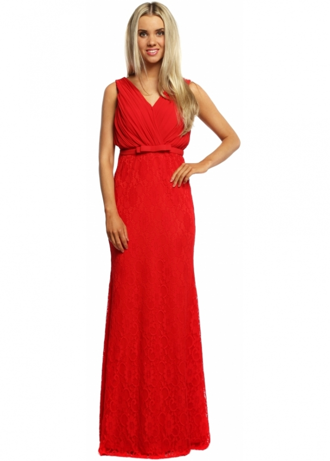 French Boutique Scarlet Red Lace Chiffon Pleated Bust Evening Dress