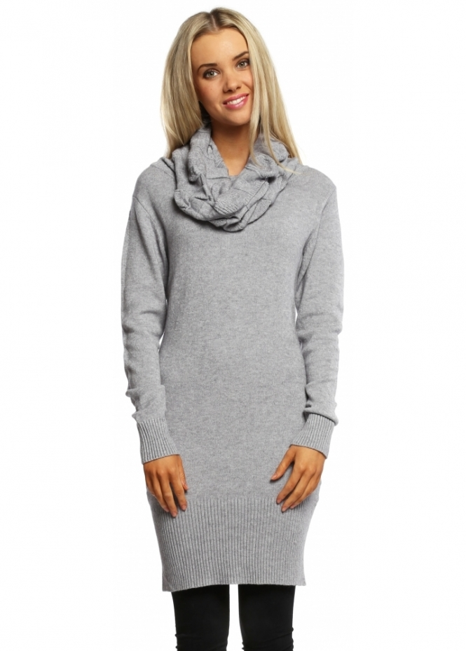 Italian Boutique Grey Cable Knit Polo Neck Jumper Dress