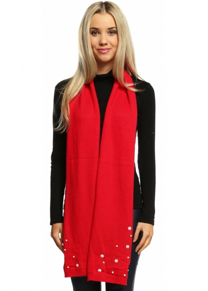 Alice Hannah Red Vintage Pearl Long Scarf