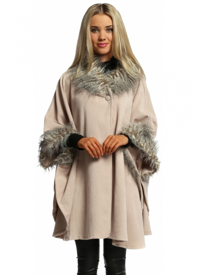 Ladies Nude Faux Fur Swing Wrap Cape Faux Fur Cape