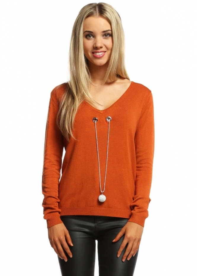 Laetitia Mem Burnt Orange V Neck Jumper With Diamonte Ball Necklace