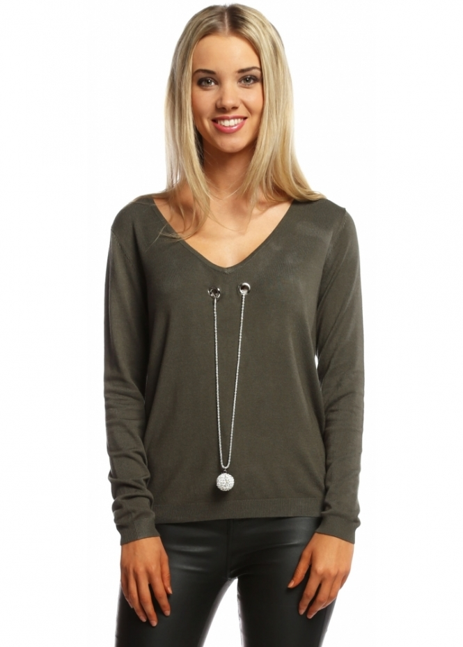 Laetitia Mem Khaki V Neck Jumper With Diamonte Ball Necklace