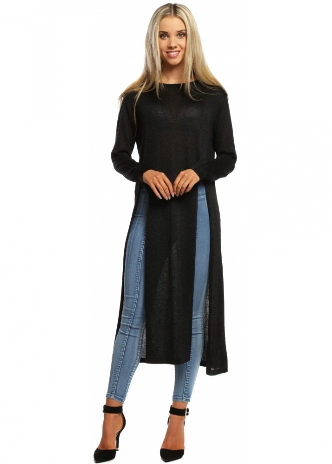 Laetitia Mem Jumper Black Fine Knit With Twin Splits