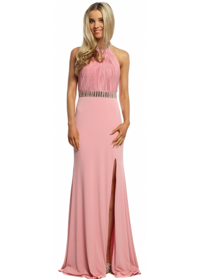 Sevelle Couture Dusky Pink Halterneck Jewelled Long Evening Dress