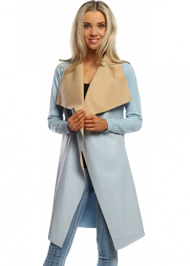Laetitia Mem Sky Blue Faux Leather Waterfall Silky Long Cardigan