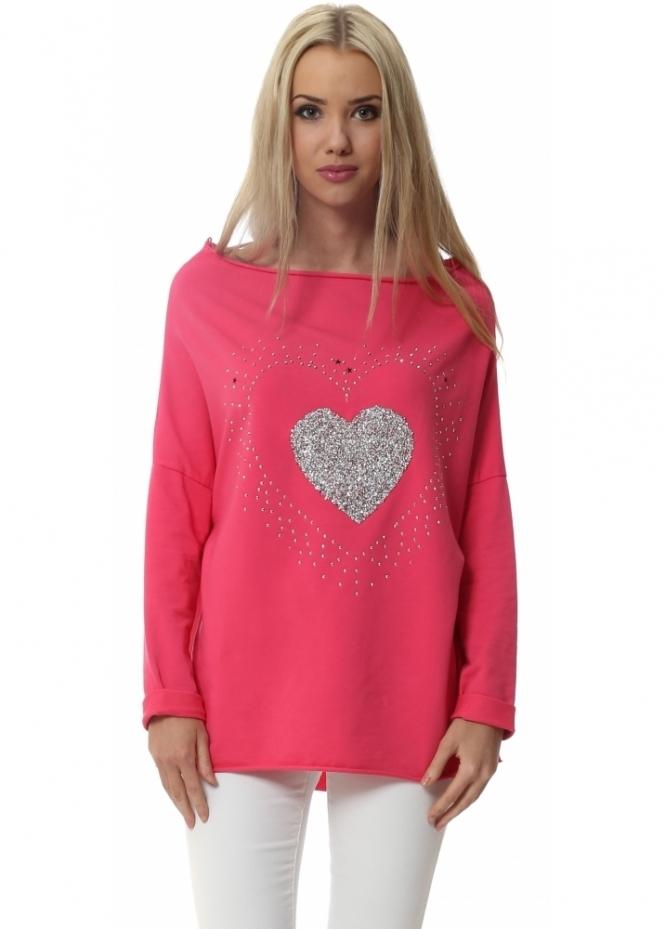 L'Olive Verte Hot Pink Crystal Star Boat Neck Cotton Sweater