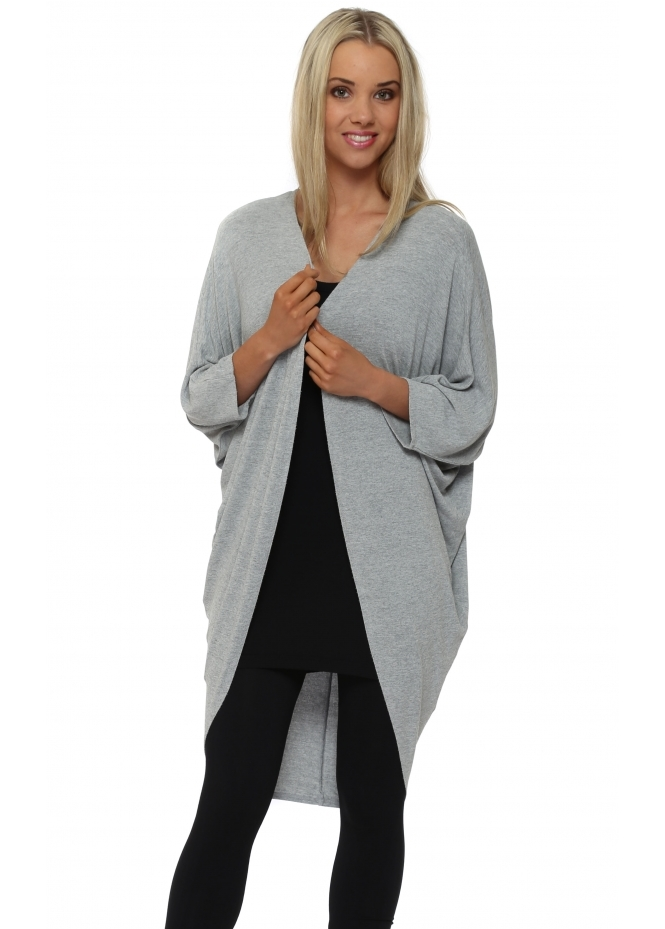 A Postcard From Brighton Shelly Bay Foam Grey Melange Draped Cardigan