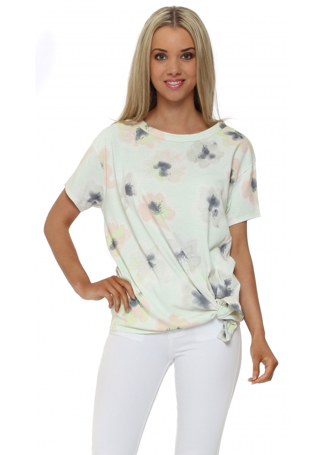 A Postcard From Brighton Tie Side Pippa Tee In Cream Foam Pastel Posy Print