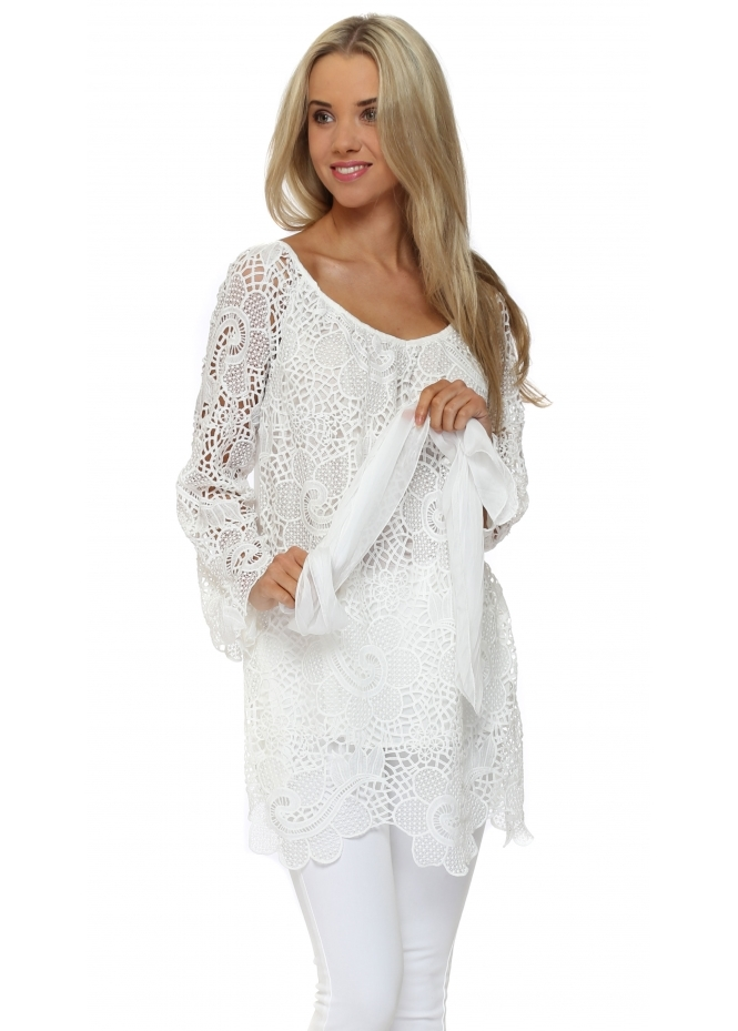 Made In Italy White Lace Top