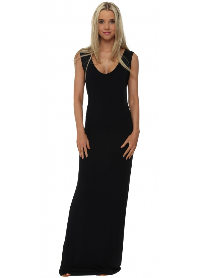 A Postcard From Brighton Black Jersey Sleeveless Maxi Dress