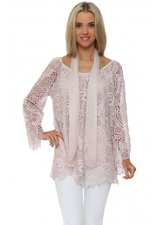 Made In Italy Dusky Pink Crochet Lace Top & Scarf