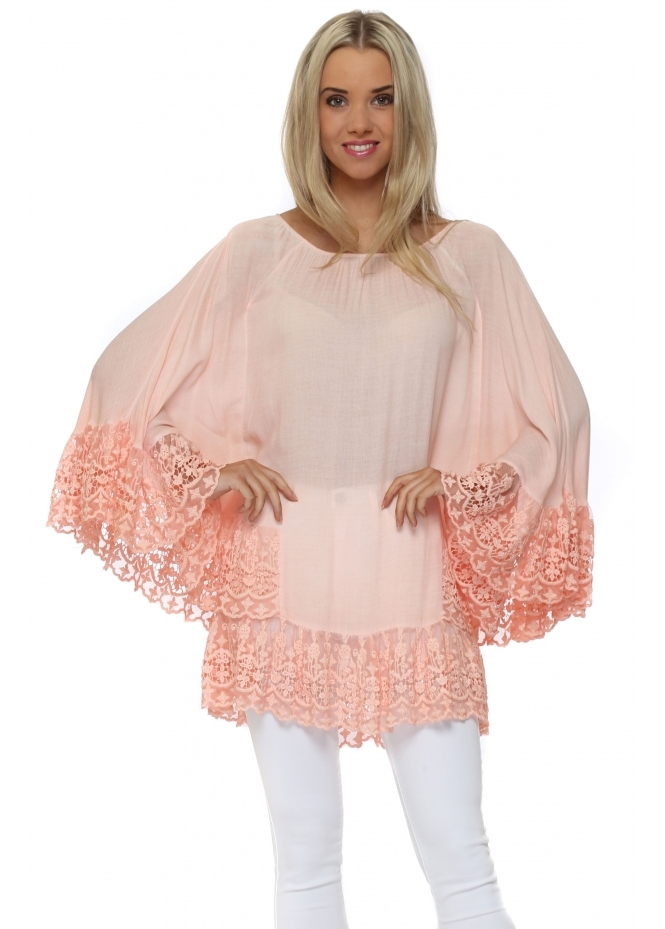 Made In Italy Apricot Batwing Lace Sleeve Top