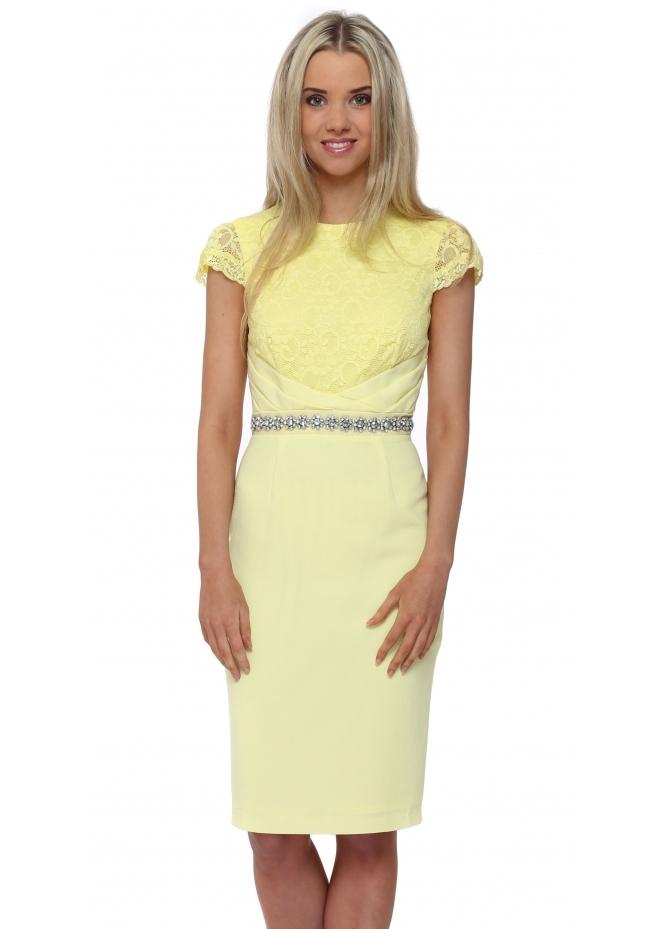Little Black Dress Diane Lace Pencil Dress In Lemon